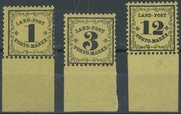 BADEN LP 1-3x **, 1862, 1 - 12 Kr., Postfrischer Prachtsatz Mit Breitem Unterrand - Baden