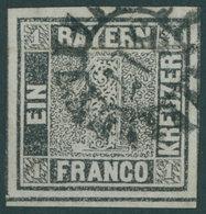 BAYERN 1Ia O, 1849, 1 Kr. Schwarzgrau, Platte 1, Allseits Breitrandig Vom Unteren Bogenrand, MR-Stempel 317 (SCHWEINFURT - Bavaria