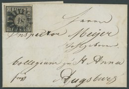 BAYERN 1IIa BRIEF, 1851, 1 Kr. Schwarz, Platte 2, Allseits Voll-breitrandig Mit Trennungslinien An Drei Seiten, Auf Klei - Bavaria