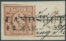 BAYERN 4I BrfStk, 1849, 6 Kr. Braun, Type I, Allseits Breitrandig Mit Schnittlinien An Allen Vier Seiten, Auf Briefstück - Bayern (Baviera)