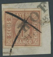 BAYERN 4I BrfStk, 1849, 6 Kr. Braunorange, Type I, L 2 HOF Und Federkreuz Auf Briefstück (zur Kontrolle Gelöst Und Mit F - Bayern (Baviera)