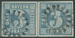 BAYERN 2II Paar O, 1859, 3 Kr. Blau Im Waagerechten Paar, Kabinett - Bayern (Baviera)