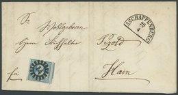 BAYERN 2II BRIEF, 1860, 3 Kr. Blau, Voll-überrandig, 2 Schnittlinien, Mit MR-Stempel 14 Auf Brief Von ASCHAFFENBURG Nach - Bavaria