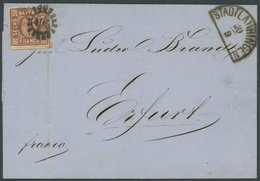 BAYERN 4II BRIEF, 1860, 6 Kr. Dunkelbraunorange Mit MR-Stempel 495 (STADTLAURINGEN) Auf Brief Nach Erfurt, Feinst - Bavaria