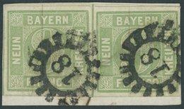 BAYERN 5a Paar BrfStk, 1853, 9 Kr. Blaugrün Im Waagerechten Paar (Vortrennschnitt Im Zwischenraum), Linke Marke Mit Plat - Bavaria