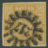 BAYERN 7 O, 1854, 18 Kr. Gelblichorange, MR-Stempel 217, Pracht, Signiert H. Krause, Mi. 240.- - Bavaria