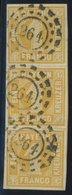 BAYERN 8I O, 1862, 1 Kr. Orangegelb, Spitze Ecken, Im Senkrechten Breitrandigen Dreierstreifen Mit Offenem MR-Stempel 26 - Bayern (Baviera)