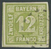 BAYERN 12 O, 1862, 12 Kr. Dunkelgelbgrün, Pracht, Gepr. Sem, Mi. 100.- - Bavaria