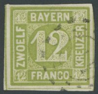 BAYERN 12 O, 1862, 12 Kr. Dunkelgelbgrün, Pracht, Gepr. Sem, Mi. 100.- - Bayern (Baviera)