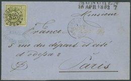 BAYERN 12 BRIEF, 1863, 12 Kr. Dunkelgelbgrün Mit MR-Stempel 325 (MÜNCHEN) Auf Brief (Rechnung Für Bierfässer Nach Paris) - Bayern (Baviera)
