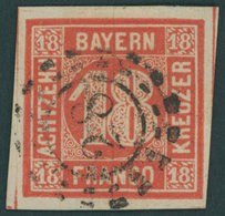 BAYERN 13a O, 1862, 18 Kr. Zinnoberrot, Allseits Riesenrandig, Offener MR-Stempel 28, Kabinett, Gepr. Bühler - Bayern (Baviera)