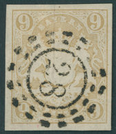BAYERN 17 O, 1862, 9 Kr. Ockerbraun, Offener MR-Stempel 28, Kabinett, Gepr. W. Engel - Bayern (Baviera)