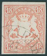 BAYERN 19 O, 1867, 18 Kr. Dunkelzinnoberrot, Segmentstempel, Pracht, Mi. (220.-) - Bayern (Baviera)