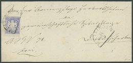 BAYERN 21a BRIEF, 1868, 7 Kr. Ultramarin, Breitrandiges Kabinettstück Auf Brief Mit Segmentstempel MEITINGEN, Gepr. Pfen - Bayern (Baviera)