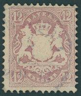 BAYERN 26X O, 1870, 12 Kr. Dunkelbraunpurpur, Wz. Enge Rauten, Kleiner Eckzahnbug Sonst Pracht, Gepr. Pfenninger, Mi. 14 - Bavaria
