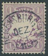 BAYERN 31a O, 1875, 1 M. Violett, Leichte Bugspur Sonst Pracht, Mi. 80.- - Bayern (Baviera)