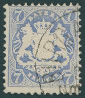 BAYERN 34 O, 1875, 7 Kr. Dunkelultramarin, Wz. 2, Pracht, Gepr. Pfenninger, Mi. 340.- - Bavaria