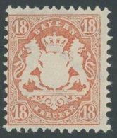 BAYERN 36 **, 1875, 18 Kr. Dunkelzinnoberrot, Wz. 2, Postfrisch, Pracht, Mi. 60.- - Bavaria