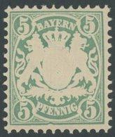 BAYERN 38aII **, 1876, 5 Pf. Bläulichgrün Mit Plattenfehler Randlinie Unter E In Pfennig Eingedellt, Postfrisch, Kabinet - Bavaria