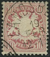 BAYERN 39a O, 1876, 10 Pf. Hellilarosa, Pracht, Mi. 140.- - Bayern (Baviera)