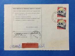 ITALIA CASTELLO 650 X 2 SU BOLLETTINO PACCHI DEL 1990 - 6. 1946-.. Repubblica
