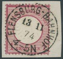 Dt. Reich 19 BrfStk, 1872, 1 Gr. Rotkarmin Mit Nicht Katalogisiertem Prägefehler, NDP-Stempel FLENSBURG-BAHNHOF, Kabinet - Deutschland