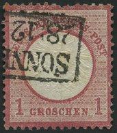 Dt. Reich 19XXV O, 1872, 1 Gr. Rotkarmin Mit Plattenfehler Kerbe Im Innenkreis Unter EI In Reichs, Weißer Strich Im Rech - Deutschland