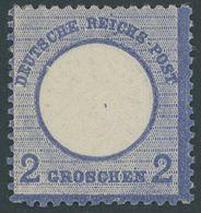 Dt. Reich 20X *, 1872, 2 Gr. Ultramarin Mit Plattenfehler Kerbe Im Innenkreis Unter UT, Kleine Marke, Falzrest, üblich G - Deutschland