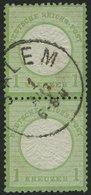 Dt. Reich 23a Paar O, 18972, 1 Kr. Gelblichgrün Im Senkrechten Paar, K1 SALEM, Normale Zähnung, Pracht, Gepr. Brugger - Deutschland