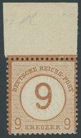 Dt. Reich 30 **, 1874, 9 Auf 9 Kr. Braunorange Mit Breitem Oberrand, Postfrisch, Pracht, Fotobefund Sommer - Deutschland