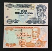 BOLIVIA SET 10, 20 BOLIVIANOS BANKNOTES (2016) UNC - Bolivia