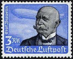 Dt. Reich 539x **, 1934, 3 RM Graf Zeppelin, Senkrechte Gummiriffelung, üblich Gezähnt Pracht, Mi. 200.- - Deutschland