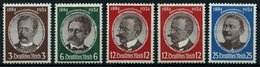 Dt. Reich 540-43x,y **, 1934, Kolonialforscher, 12 Pf. Beide Gummiriffelungen, 5 Prachtwerte, Mi. 235.- - Deutschland