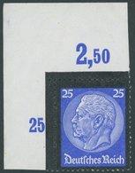 Dt. Reich 553POR **, 1934, 25 Pf. Hindenburg-Trauer, Plattendruck, Aus Der Linken Oberen Bogenecke, Postfrisch, Pracht - Deutschland