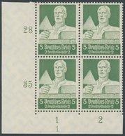 Dt. Reich 558 VB **, 1934, 4 Pf. Stände Im Unteren Linken Eckrandviererblock Mit Form Nr. 1, Postfrisch, Pracht - Deutschland