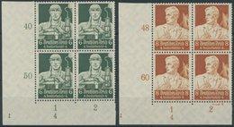Dt. Reich 559/60 VB **, 1934, 6 Und 8 Pf. Stände, Je Im Unteren Linken Eckrandviererblock Mit Form Nr. 4 Und Spiegelverk - Deutschland