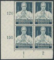 Dt. Reich 562 VB **, 1934, 20 Pf. Stände Im Unteren Linken Eckrandviererblock Mit Form Nr. 1 Postfrisch, Pracht - Deutschland