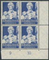 Dt. Reich 563 VB **, 1934, 25 Pf. Stände Im Unteren Rechten Eckrandviererblock, Postfrisch, Pracht, Mi. (560.-) - Deutschland