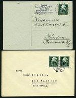 Dt. Reich 569x BRIEF, 1935, 6 Pf. Heldengedenktag, Senkrechte Gummiriffelung, Einzelfrankatur Auf Karte Und Paar Als Meh - Deutschland