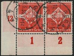 Dt. Reich 572 Paar O, 1935, 12 Pf. Reichsberufswettbewerb Im Paar Aus Der Linken Unteren Bogenecke, Feinst - Deutschland