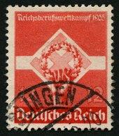 Dt. Reich 572y O, 1935, 12 Pf. Reichsberufswettkampf, Waagerechte Gummiriffelung, Pracht, Mi. 75.- - Deutschland