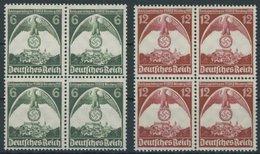 Dt. Reich 586/7 VB **, 1935, Nürnberger Parteitag In Viererblocks, Postfrisch, Pracht, Mi. 100.- - Deutschland