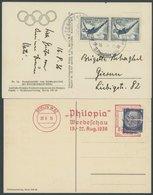 Dt. Reich 625 BRIEF, 1936, 4 Pf. Olympische Spiele Im Waagerechten Paar Auf Offizieller Ansichtskarte Nr. 14 Mit Sonders - Deutschland