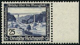 Dt. Reich 641x *, 1936, 25 Pf. Autobahnbrücke, Senkrechte Gummiriffelung, Falzrest, Pracht - Deutschland