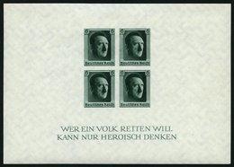 Dt. Reich Bl. 8 **, 1937, Block Hitler Ungezähnt, Pracht, Mi. 210.- - Deutschland