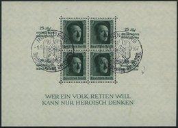 Dt. Reich Bl. 11 O, 1937, Block Reichsparteitag, Sonderstempel, Pracht, Mi. 60.- - Deutschland