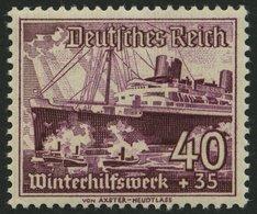 Dt. Reich 659x **, 1947, 40 Pf. Schiffe, Senkrechte Gummiriffelung, Pracht, Fotoattest H.D. Schlegel, Mi. 650.- - Deutschland
