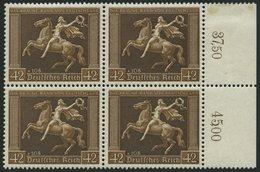 Dt. Reich 671y VB **, 1938, 42 Pf. Braunes Band, Waagerechte Gummierung, Im Viererblock, Pracht, Mi. 600.- - Deutschland