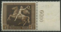 Dt. Reich 671y **, 1938, 42 Pf. Braunes Band, Waagerechte Gummiriffelung, Pracht, Mi. 150.- - Deutschland