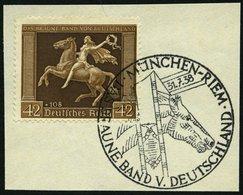 Dt. Reich 671y BrfStk, 1938, 42 Pf. Braunes Band, Waagerechte Gummiriffelung, Sonderstempel, Prachtbriefstück, Mi. (60.- - Deutschland